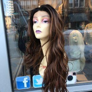 Accessories - Long ombré wig full cap warm brown wavy 2019 wig
